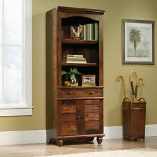 Cherry Finish 3-Shelf Library Bookcase Cabinet Furniture Home Living Display