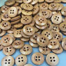 50/100PCS Wood Buttons Sewing 4 Holes Round Brown Dia Clothing Accessories 15mm
