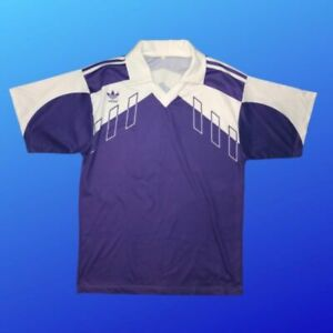CLASSIC ADIDAS VINTAGE  FOOTBALL SHIRT POLYESTER 80S MADE IN FRANCE SIZE M/L