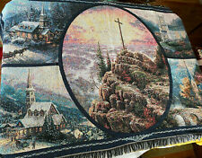 Thomas Kinkade Woven Throw Blanket Wall Art 43 X 68 Religious Scene 100% Cotton