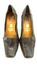 """AEROSOLES WOMENS BROWN LEATHER LOAFERS PEDAQ INSOLES SIZE 8.5 M  2.5"""" HEELS"""