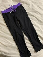 Lululemon Size 0 Womens Black And Purple Cropped Pants W/drawstring Great Cond.