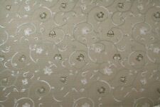 "Fabric Tan Floral Drapery Upholstery 54"" w x 2+ yards Bonus Partial yardage"