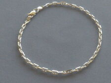 """9"""" STERLING SILVER ANCHOR MARINA ANKLE BRACELET- 3mm- ITALY 925"""