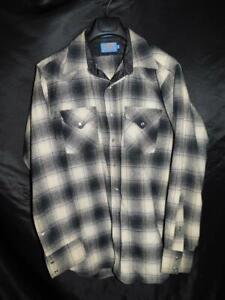 Vintage Pendleton L Long Blue Gray Plaid Western Wear Snap Wool Shirt USA Made