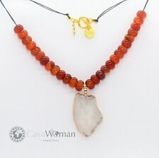 Clear Quartz Crystal Pendant 3-6CM with Agate Abacus 12x8mm Beads