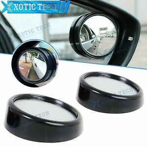 """Black Round 2"""" Convex Stick On Rear-view Blind Spot Wide Angle Mirror Universal"""