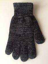 Ladies Black & Silver Glitter Gloves