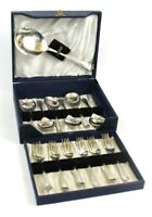 Vintage Boxed Set of 6 EPNS Silver Dessert Forks Spoons + Serving Spoon [6155]