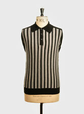 Art Gallery Clothing - Knitted Polo - BLACK L Mod Sixties