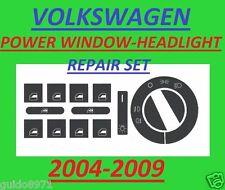 04 – 09  VW POWER WINDOW BUTTON DECALS  HEADLIGHT SWITCH JETTA PASSAT TOUAREG