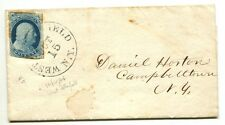 """WEST BLOOMFIELD NY OCT 15 1856 #9 curcular """"Stephen H Ainsworth"""" CIRCULAR RATE"""