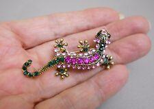 Pink Green Rhinestone  Lizard Gecko Chameleon Brooch Pin Scarf Buckle Jewelry