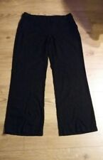 Ladies F&F Linen Black Wide Leg Straight Long Trousers size 14