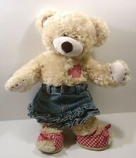 """Build a Bear Cream Patches Red n White Checked Heart n Shoes w Denim Skirt 16"""""""