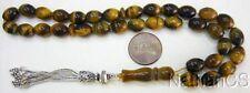 Tesbih Prayer Beads Komboloi Oval Tiger Eye and Sterling Silver