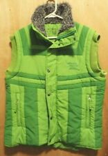 Steelo Womens Green Full Zipper Quilted Vest With Snaps Faux Fur Collar Size L