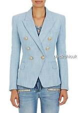 Balmain Blue Gold Button Jacket Blazer Fr36 Uk8 New auth DRESS