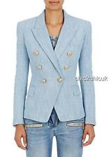Balmain Blue Gold Button Jacket Blazer Fr38 Uk10 New auth DRESS