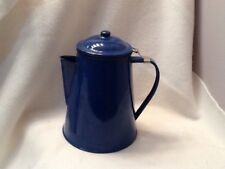 Vintage Blue Enamel Coffee Pot Percolator with Basket Camping