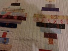 Handmade Quilt Courthouse Step Multi-Colored Hand Quilted, Full/Queen