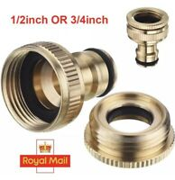 "BRASS HOSE TAP CONNECTOR 3/4"" 1/2"" THREADED GARDEN WATER PIPE ADAPTER FITTING"