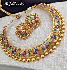 Ethnic Indian Bollywood Gold Tone Multi Color Polki Necklace Earring Wedding Set