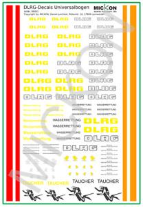 Mickon 99001 Decals DLRG Wasserrettung Taucher Universal Nassschiebebilder 1:87