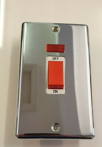 45A Double Pole Polished Chrome Switch with Neon ON/OFF indicator inc fixings