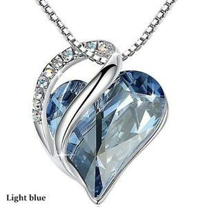 Luxury Womens Silver Love Heart Blue Zircon Pendant Necklace Wedding Jewelry Gif
