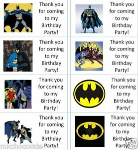 40 x Personalised Batman/Robin labels/stickers/party/sweet/cake/bag/s/Thank you