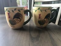 Pfaltzgraff Napoli Rooster Mugs Hand Painted Set Of 2