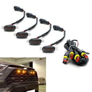4pc Raptor Style Smoked Lens Amber LED Front Grille Kit, Universal Fit Truck SUV