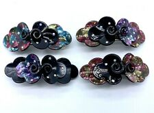 Pink & Black Flower & Leaves Acrylic Resin with Crystals Hair Barrette New