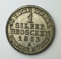 Dated : 1863 - Silver Coin - German States - 1 Silber Groschen - Prussia