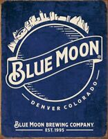 Blue Moon Beer Skyline Metal Tin Vintage, Retro Tin Sign, 12.5 X 16 Inches