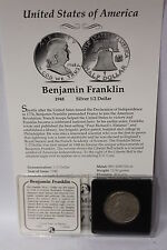 USA 1948 BENJAMIN FRANKLIN 90% SILVER 1/2 DOLLAR WITH CERT IN COIN SLEEVE