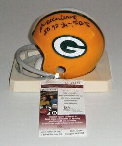 PACKERS Willie Wood signed mini helmet 2 bar w/ 50 Yard Int SB I JSA COA AUTO