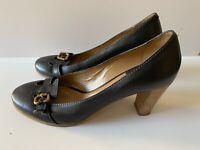 Chloe Court Pump Stacked Heel Black Leather Brass Buckle Low Heel EU 41 AU 9.5