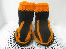 Toddlers Baby Booties (Black & Orange) Knitted ~ Bengals ~ **Gift Idea