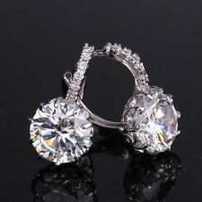18 kt white gold Round Cut lever back Diamond Earrings 3 CT****