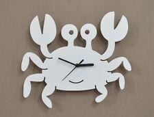 Cartoon Crab Silhouette White - Wall Clock