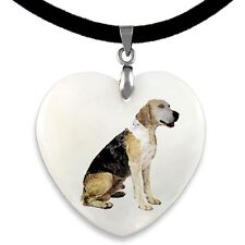Dunker Dog Natural Shell Mother Of Pearl Heart Pendant Necklace Chain Pp153