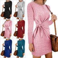 Women Long Sleeve Dress Casual Loose Tie Waist Short Dress Party Holiday Dresses