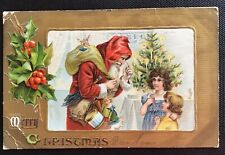 Vintage Christmas Postcard - Santa with Presents for 2 Girls 1908