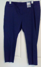 BNWT Marks and Spencer Navy Blue Cotton Tapered Trousers UK Size 20 Short Summer