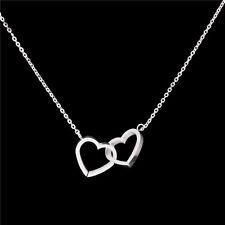 HERZKETTE Damen Geschenk Kette Herz Herzen 45 cm Edelstahl Halskette silber NEU