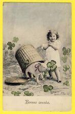 CPA France BONNE ANNÉE 1907 Illustration COCHON TRÈFLES Happy new year PIG