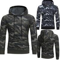 Men Long Sleeve Camouflage Hoodie Hooded Sweatshirt Tops Jacket Coat Outwear New