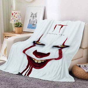 3D Clown Velvet Plush Throw Blanket Bedspread Sherpa Blanket Couch Quilt Cover